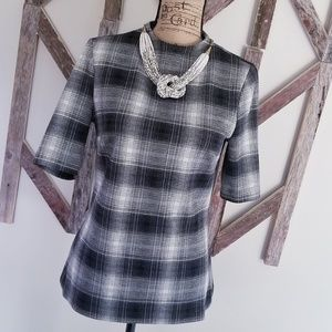 Halogen plaid thick blouse with lining size medium